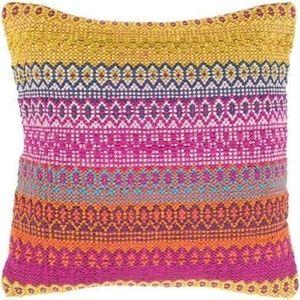 Bright Multi Color Striped Woven Pillow Cover